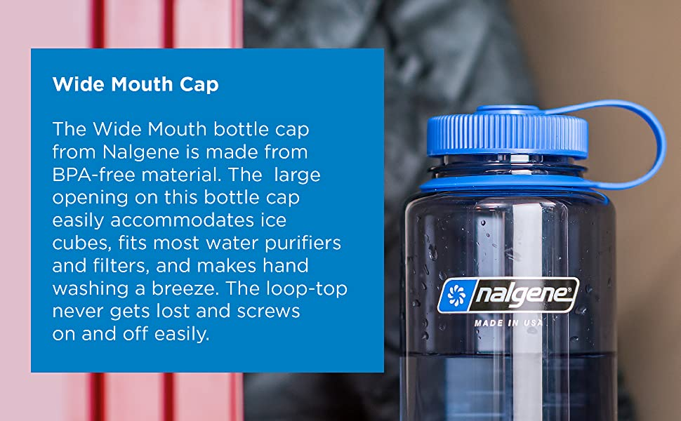 nalgene, water, bottle, wide mouth, 32oz, easy to clean, impact resistant, shatterproof, bottle,
