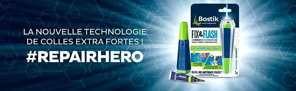 Colle de Réparation BOSTIK Fix & Flash (Colle Photoactive) Applicateur et Tube 5 g Transparent Ultra résistant