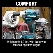 comfort weighs only four pounds with battery for reduced operator fatigue