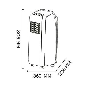 climatiseur mobile silencieux, Climatiseur sans Unité Extérieure, 2000 W, Blanc, froid, ventilation