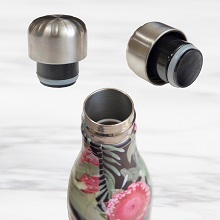 stainless steel water bottles that;don't sweat;fit in cup holders;hold ice cubes;hot;cold;designs