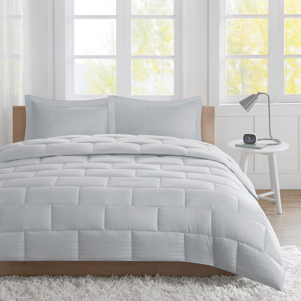 Intelligent Design Id10 868 Avery Seersucker Down Alternative Comforter Mini Set Twin Grey Twin