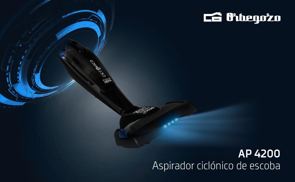 Orbegozo AP 4200 - Aspiradora escoba y de mano sin cable, ciclónico con filtro HEPA, 29.6 V, modo ECO y turbo, cepillo motorizado rotativo: Amazon.es: Hogar