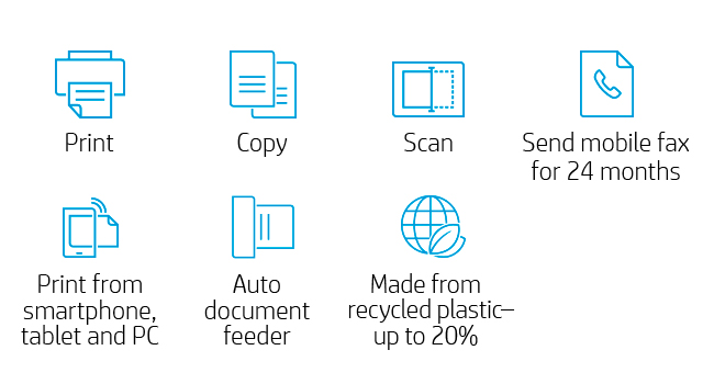 print copy scan mobile fax printing recycled plastic auto document feeder