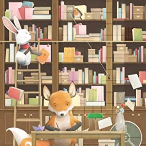 rabbit, fox, books, read, write, ladder, library