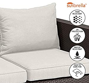 keter salta sofa features sunbrella seat and back cushions included for maximum comfort