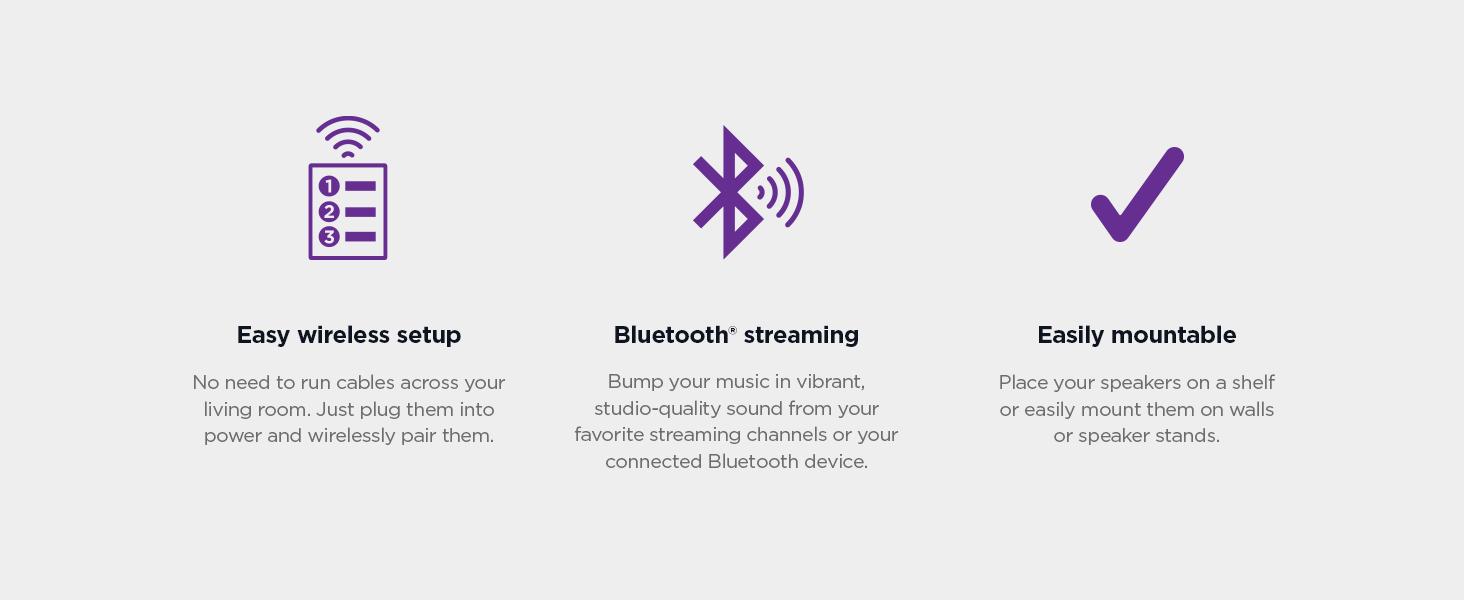 Roku wireless speakers easy wireless setup, bluetooth streaming, easily mountable