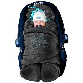 """ByBoom Baby Winter-Einschlagdecke """"Das Original mit dem Bären"""", Universal für Babyschale, Autositz"""