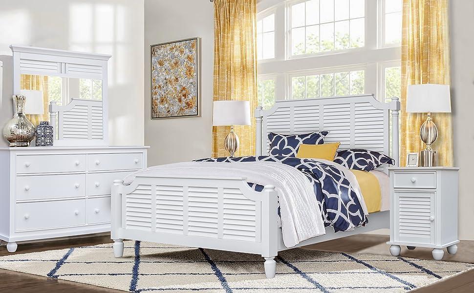 white bedroom,shutter,louvers,island,southern bedroom,wood slats,shiplap bedroom