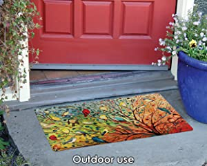 rug;doorway;door;floor;mat;colorful;vibrant;tree;bird;cardinal;fall;autumn;seasonal;branch;birdy