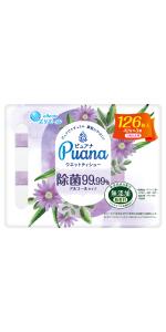 エリエール Puana(ピュアナ)ウエットティシュー 除菌99.99%アルコールタイプ つめかえ用42枚×3P