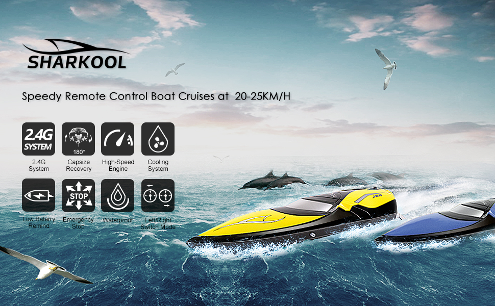 Remote Control Boats Sharkool H106 Rc Self Righting Racing Boats For Boys Girls 2 4ghz High Speed Remote Control Boat Toys For Kids Or Adults