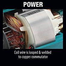 power coil wire looped welded coper commutator mechanics inside tool motor housing material
