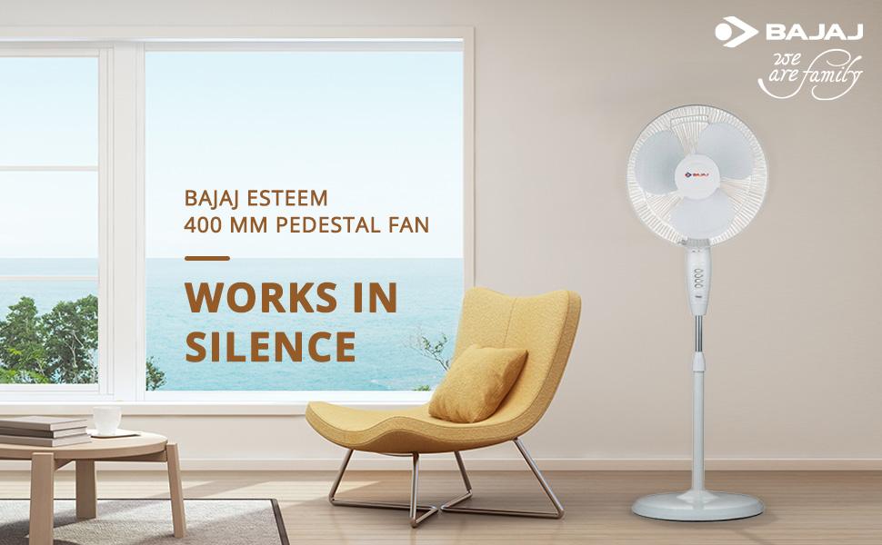 Bajaj Esteem 400 mm Pedestal Fan (White)