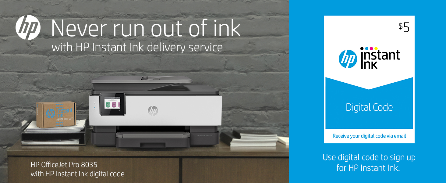 HP OfficeJet Pro 8035 All-in-One Wireless Printer, Basalt (5LJ23A) and Instant Ink $5 Prepaid Code