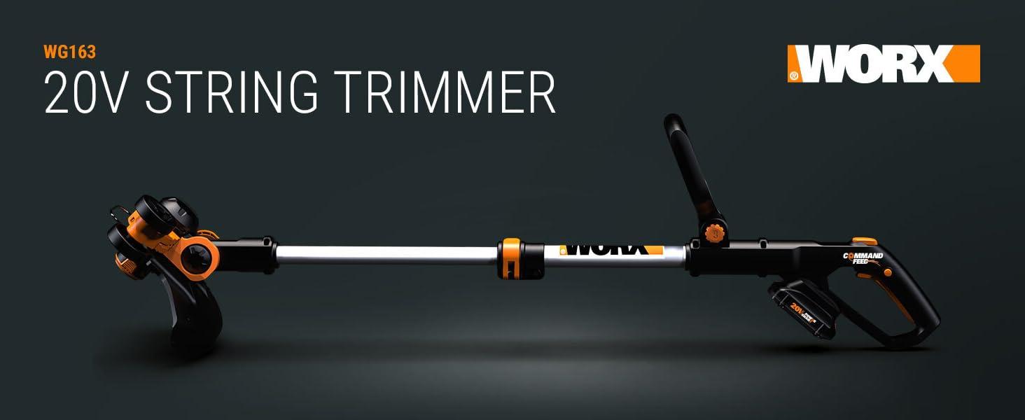 WORX WG163 GT String Trimmer; 20V; power share; cordless; 2.0 Amp Hour battery