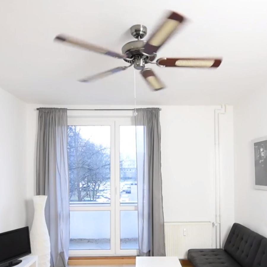 Pepeo Potkuri ventilador de techo sin luz, carcasa en blanco lacado, aspas reversibles blancas o blancas con insertos de ratán, 132 cm, para ...