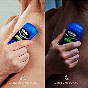 man using gillette clinical deodorant clear gel power rush scent in the morning and at night