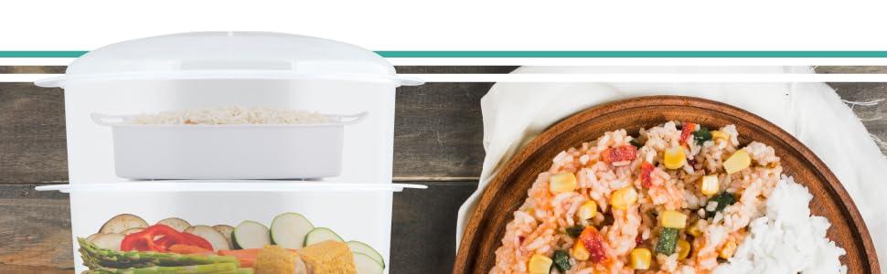 Orbegozo CO 4015 - Vaporera eléctrica, libre de BPA, 3 recipientes apilables incluyendo uno especial para arroz, temporizador hasta 60 minutos con parada automática, 800 W de potencia: Orbegozo: Amazon.es: Hogar