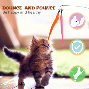 Colorful feather teaser cat toys make cat bounce and pounce
