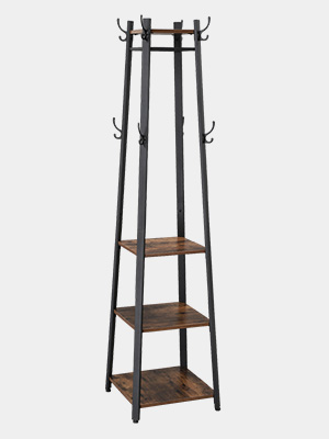 VASAGLE Industrial Coat Rack, Coat Stand with 3 Shelves, Hall Trees Free Standing with Hooks and Clothes Rail, Metal Frame ULCR80X