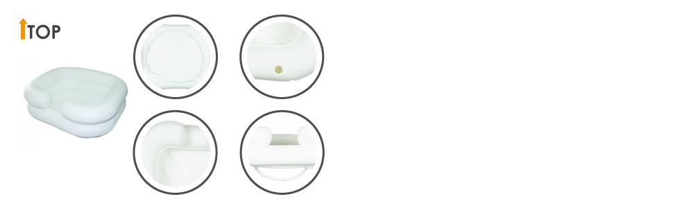 Lavacabezas hinchable con tubo de drenaje, Blanco, Mobiclinic