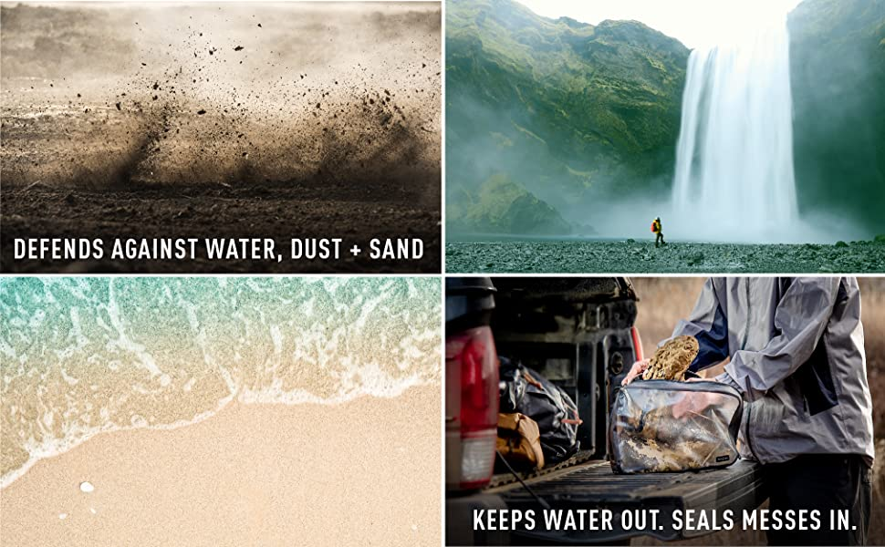 defends againster water dust and sand, waterproof, dustproof, sandproof, seals messes in
