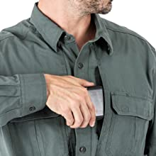 Ready Pocket on chest for storing documents or a phone