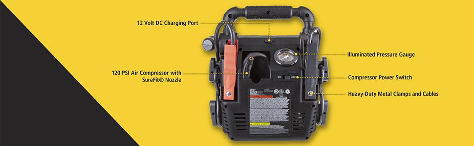 120 PSI air compressor with Surefit nozzle, 12 volt DC Charging port, pressure gauge, metal clamps