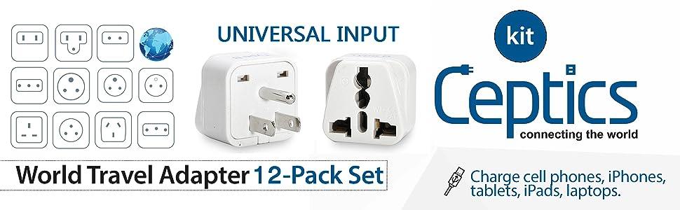 Ceptics Complete International Grounded Universal Travel Plug Adapter Set of 12