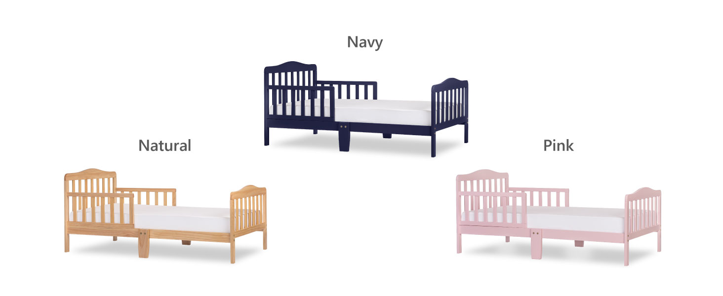 toddler bed, dream on me toddler bed in navy, toddler bed in natural, toddler bed in pink,toddler