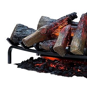 lifelike, logs, electric fireplace, embers