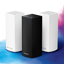 Whole Home Mesh Wi-Fi system in black and white