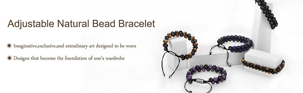 adjustable natural bead bracelet