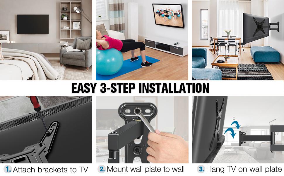 tv bracket 43 inch full-motion tv mount swivel tv mount monitor wall mount tv wall bracket 32 to 55