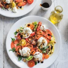 Tomato and basil salad with whipped goat's cheese