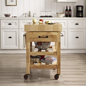 Amazon.com - Crosley Furniture Marston Butcher Block Rolling Kitchen Cart - Natural - Kitchen ...