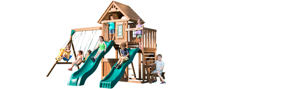 Amazon Com Swing N Slide Ws 8353 Knightsbridge Deluxe Wooden Swing Set With Two Slides Climbing Wall Swings Glider Picnic Table Wood Toys Games
