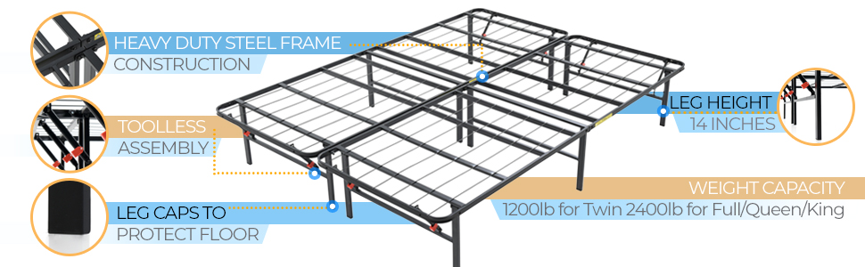 Hercules Heavy-Duty 14-Inch Platform Metal Bed Frame | Mattress Foundation, Queen Bed Frame