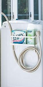 山崎実業  ホースホルダー付き 洗濯機横 マグネット ラック プレート  ホワイト 4771