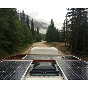 Renogy RV Kit Solar 100 Watts 12 Volts Monocrystalline Off-Grid Kit with 30A PWM LCD Charge Controller + Mounting Brackets + MC4 Connectors + Solar Cables + Cable Entry housing