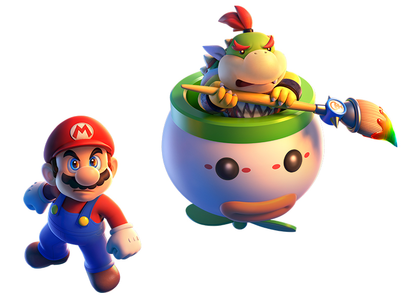 Mario and Bowser Jr. pose together.