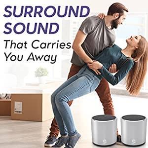 wireless speakers  [2 Pack] HeadSound H2 True Wireless Bluetooth Speakers, Latest Powerful Dual Twin Portable Mini Speaker Set w/Surround HD Sound, Instant Pairing with Built in Mic for HandsFree Calls for Home (Silver) aaf29212 5694 42d7 b9e5 456618231284