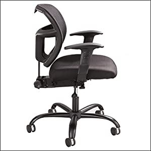 Safco Vue chair with separately available, optional arm kit attached on white background