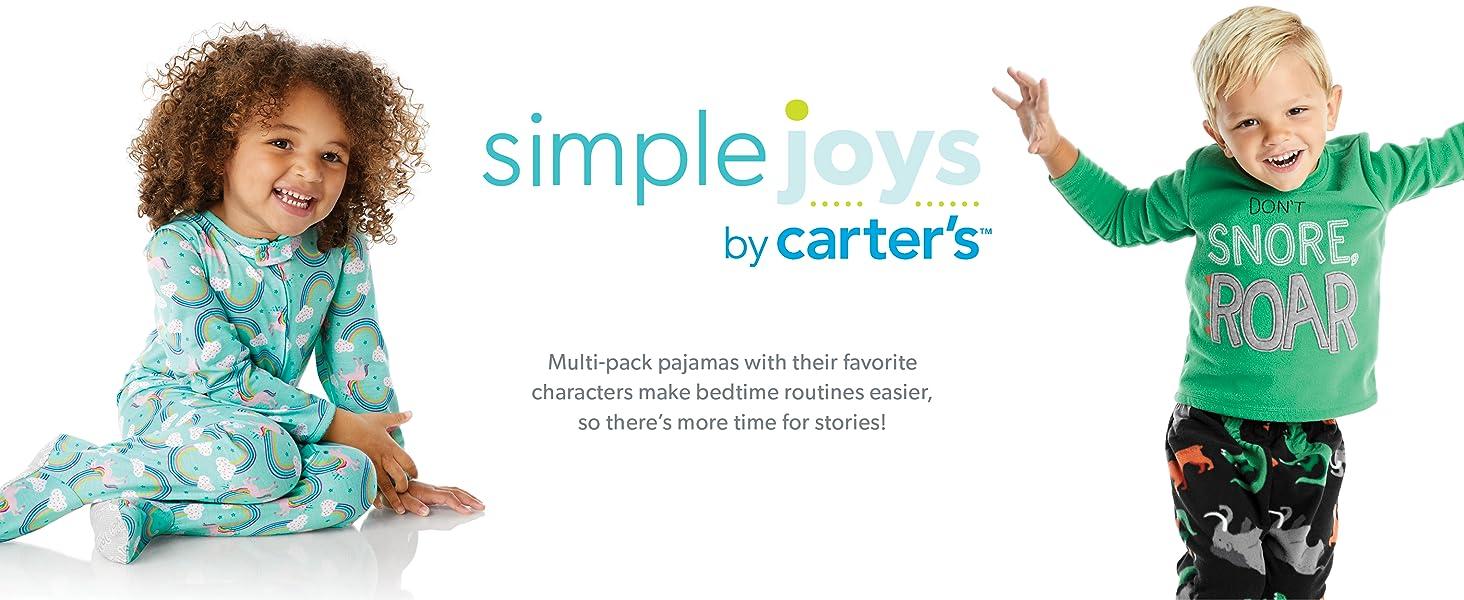 Simple Joys by Carters 6-Piece Snug Fit Cotton Pajama Set Beb/é-Ni/ñas Pack de 6