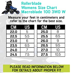 Skate size charts, rollerblade size charts, rollerblade sizes, find skate size, rollerblades sizes