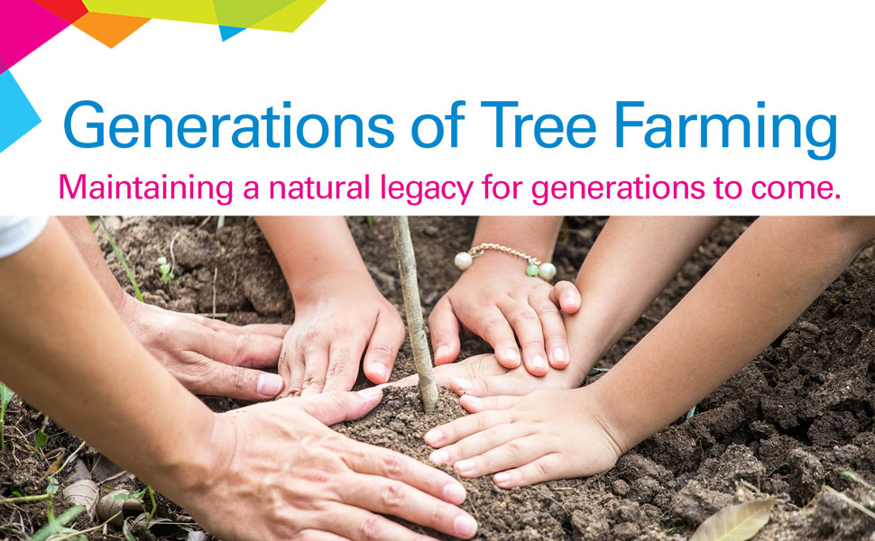 "Planting a tree ""Generations of tree farming, maintaining a natural legacy for generations to come."""