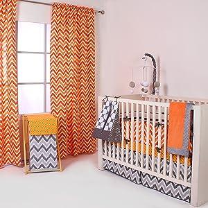 Bacati Orange/Grey Collection