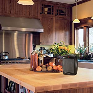 lasko portable space heater in kitchen