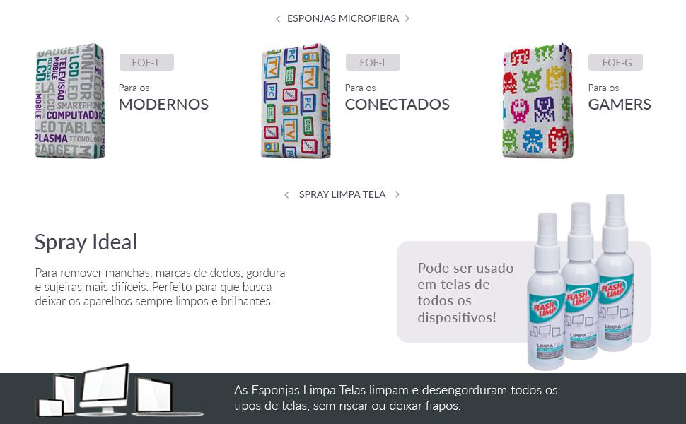 limpa telas; flashlimp; esponja microfibra; kit limpa telas; limpa celular